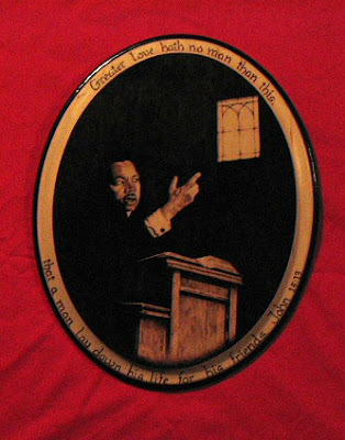 A pyrographed tribute to Martin Luther King, Jr.