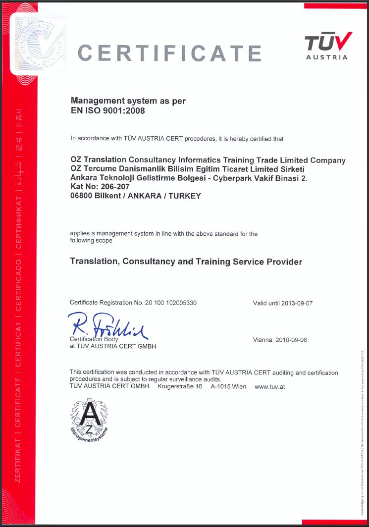 translation iso interpretation turkey certificate training informatics austria qms services ankara kemal consultancy oguz congratulate obtaining ceo oz mr