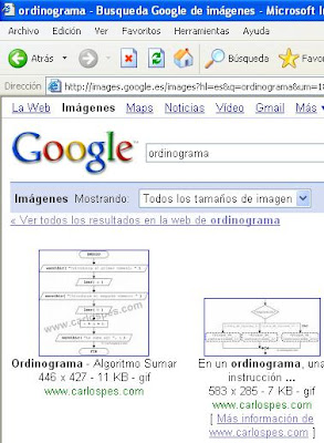 Búsqueda de -ordinograma- en Google