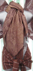 Brown Pashmina & Brown Silk Checker Scarf