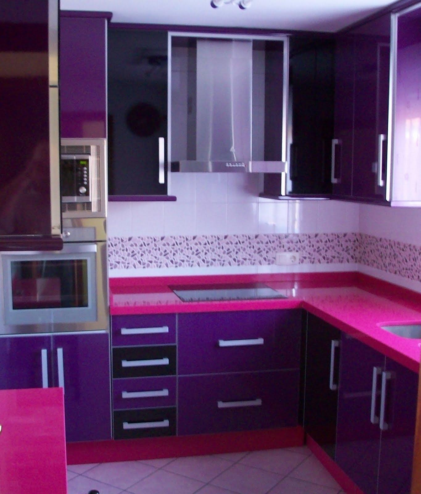 Cocinas cocina de dise o berenjena y negro for Cocinas color berenjena