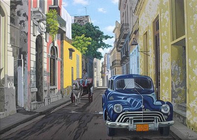 paisaje colonial cubano al oleo