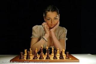 Beauty Woman Chess Players