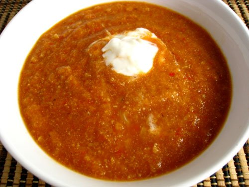 Roasted Cauliflower and Red Pepper Soup with Sour Cream