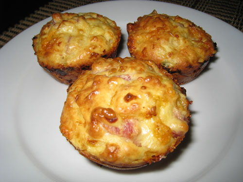 Cottage Cheese and Egg Muffins with Ham and Cheddar Cheese on Closet ...