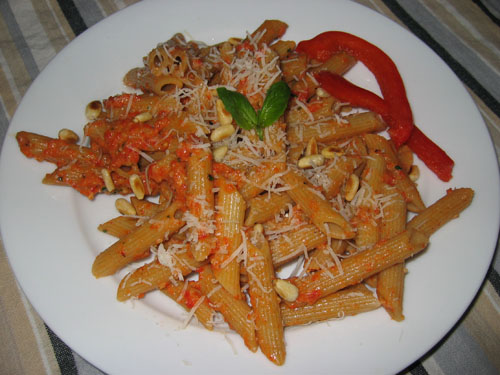Roasted Red Pepper Pesto on Penne on Closet Cooking