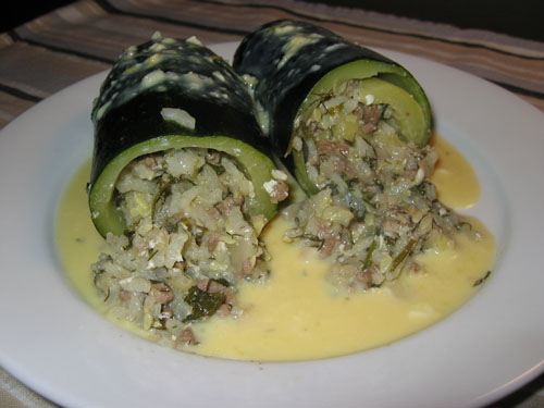 Kolokithakia Gemista (Stuffed Courgettes) with Avgolemono Sauce