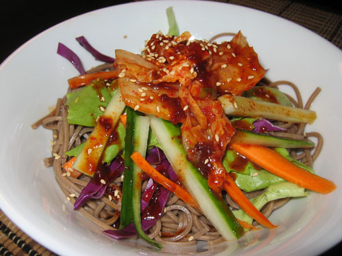 Soba and Kimchi Salad (Bibim Guksu)