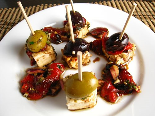 Marinated Feta with Olives and Roasted Red Pepper on Closet Cooking