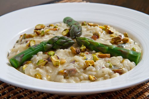 Pistachio and Gorgonzola Risotto with Asparagus