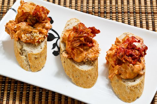 Kimchi Dip Crostini