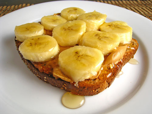 peanut butter and honey sandwich with bananas