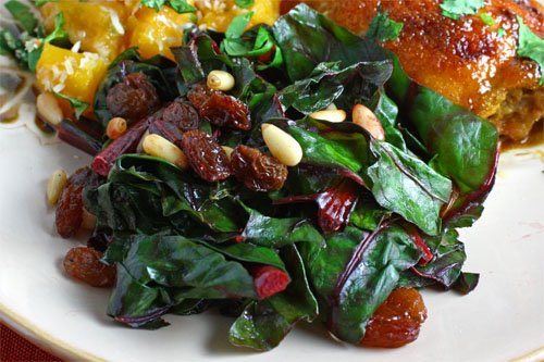 Chard Sauteed with Raisins and Pine Nuts on Closet Cooking