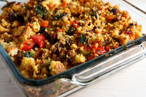 Corn Bread Stuffing with Chorizo on Closet Cooking
