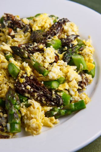 Scrambled Eggs with Ramps, Asparagus and Morel Mushrooms on Closet ...