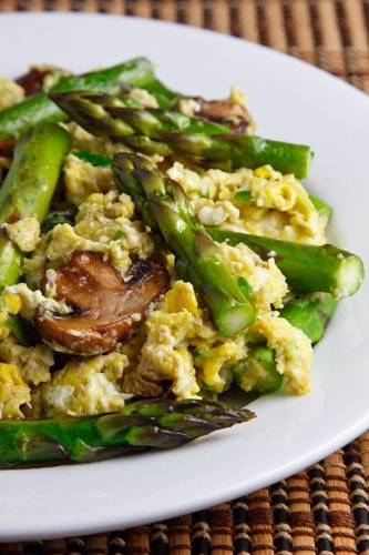 Garlic Scape Pesto Scrambled Eggs with Asparagus and Mushrooms on ...