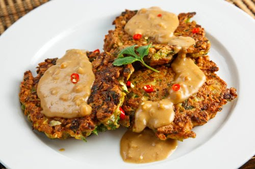 Thai Curried Zucchini Fritters with Spicy Peanut Sauce on Closet ...