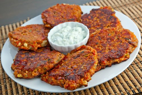 Ntomatokeftedes (Greek Tomato and Feta Fritters) on Closet Cooking