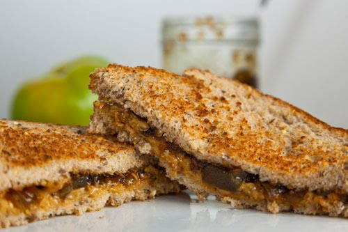 Peanut Butter and Green Tomato and Jalapeno Jam Sandwich on Closet ...
