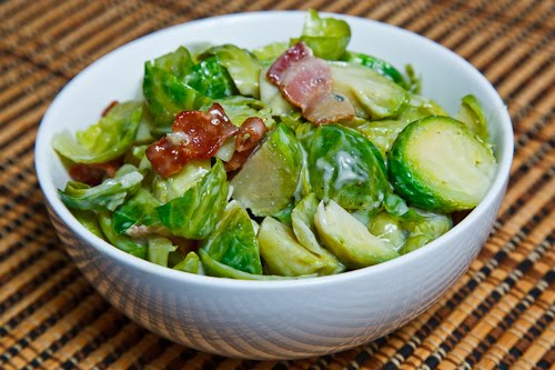 Brussels Sprouts and Bacon Covered in Melted Gorgonzola