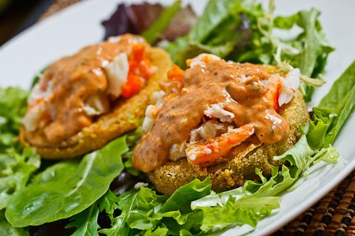 Fried Green Tomatoes with Crab Remoulade on Closet Cooking