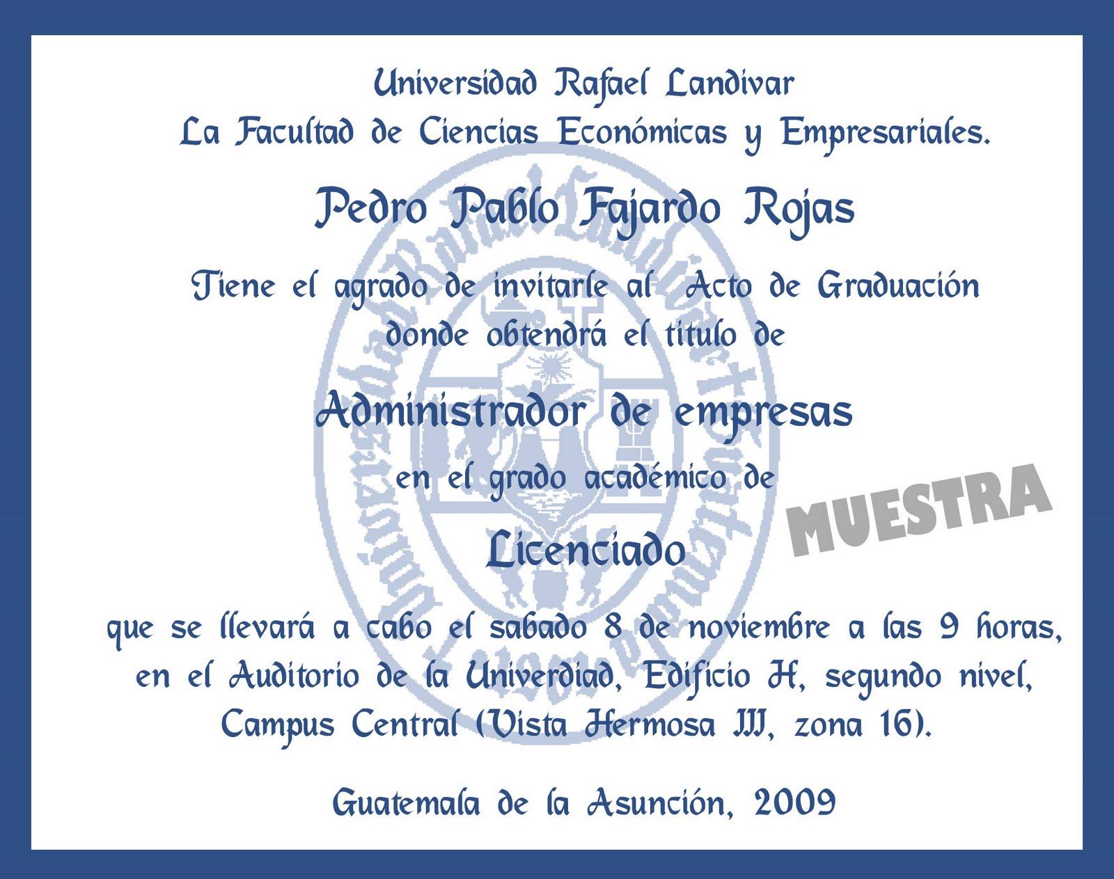 Invitaciones Para Graduacion De Universidad