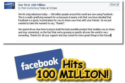 Facebook, 100 Million