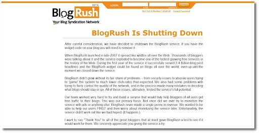 Blogrush, shutdown, shutting down