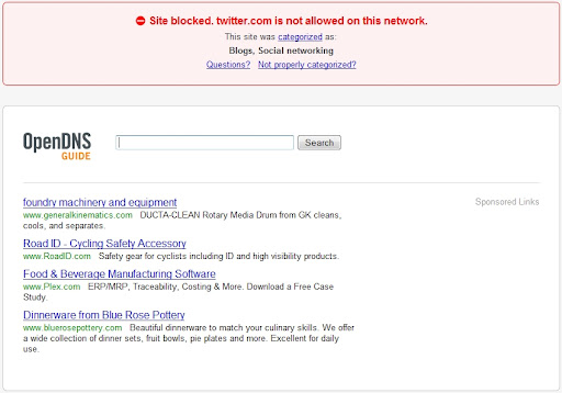OpenDNS blocks Twitter. Twitter is evil!?