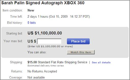 Sarah Plain's Xbox 360 - $1.1 million