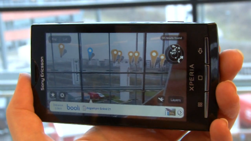 Layar (Augmented Reality-based application) on XPERIA X10