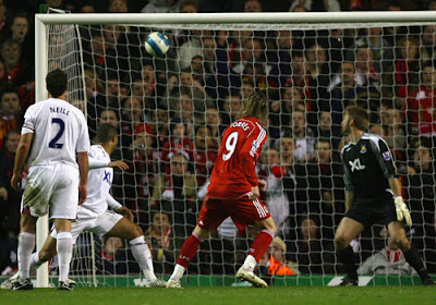 Liverpool striker Fernando Torres scores the second goal of the match
