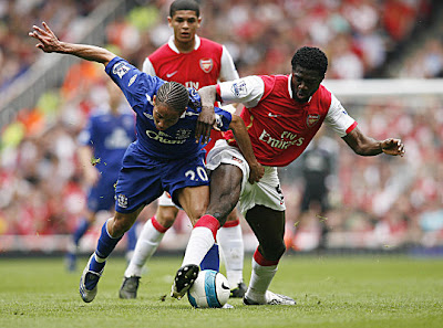 Arsenal defender Kolo Toure (right) vies with Everton midfielder Steven Pienaar.