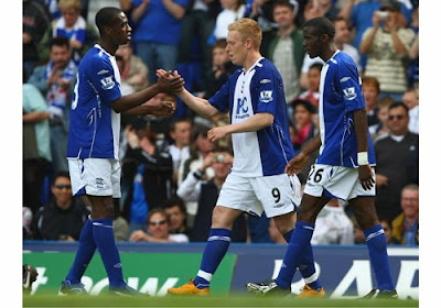 Mikael Forssell of Birmingham City is congratulated by team mate Olivier Kapo after scoring the opening goal