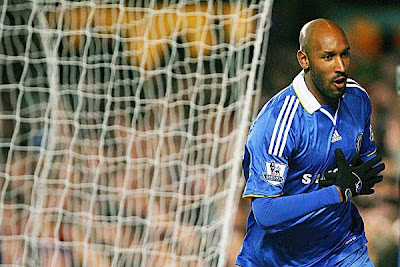 Chelsea striker Nicolas Anelka celebrates after scoring the equalizing goal against West Ham