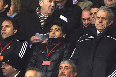 Argentina Manager Diego Maradona looks on from the stands prior to the Barclays Premier League match between Stoke City and Liverpool at the Britannia Stadium in Stoke, England.