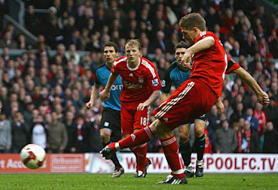Steven Gerrard of Liverpool scores his hat trick goal. Liverpool won the game 5-0.