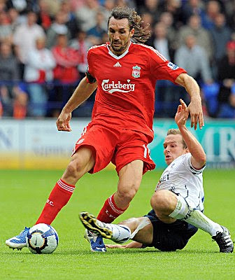 Sotirios Kyrgiakos of Liverpool in action during the match between Bolton Wanderers and Liverpool at Reebok Stadium in Bolton, England.