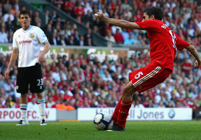 Yossi Benayoun of Liverpool scores his team's fourth goal