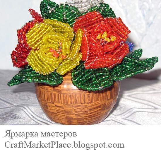 плетения цветов из бисера.