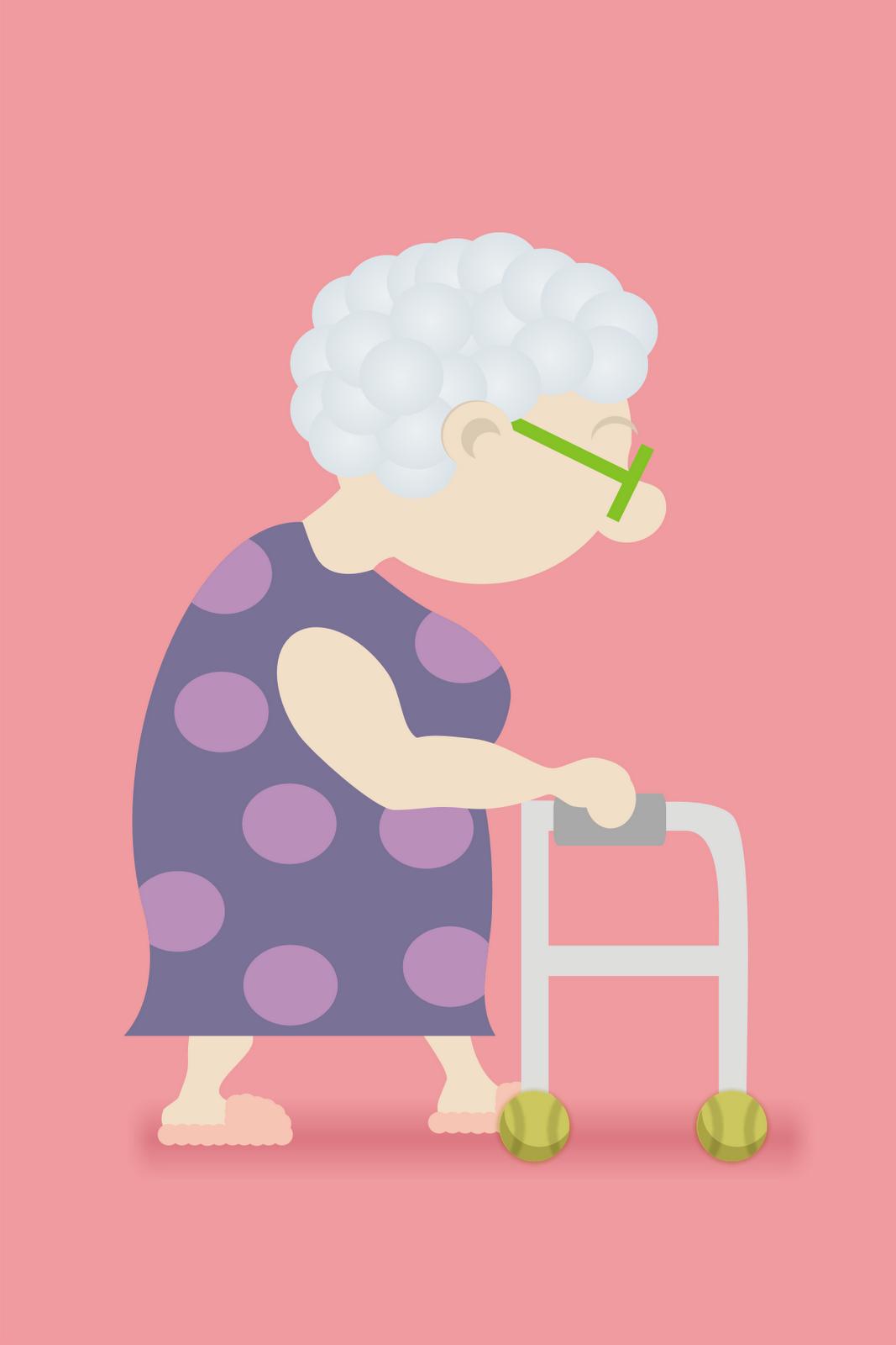 Matt\'s Sketch Pad: Elderly Woman with Walker