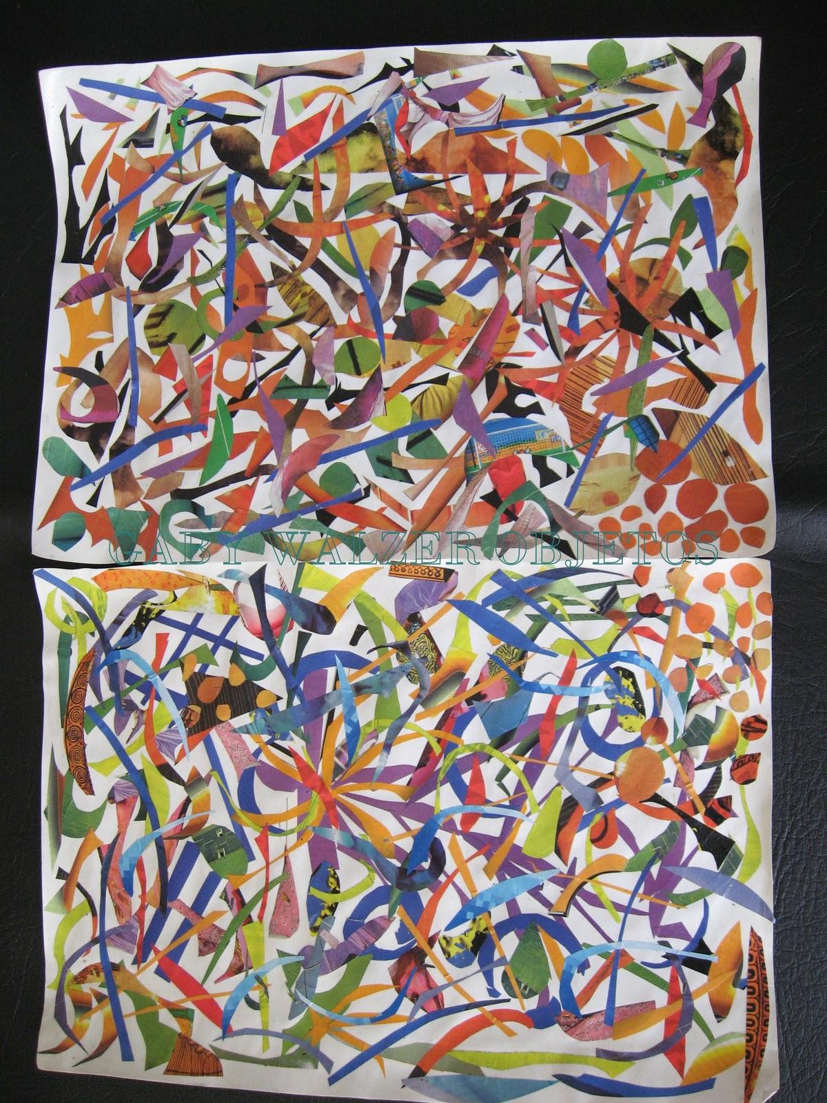 Gaby walzer objetos reciclado pinturas lamina colorida Papeles murales con diseno de paisajes