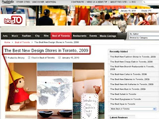 Screenshot: BlogTo: Best New Design Stores in Toronto, 2009, Three from Eight in the Junction