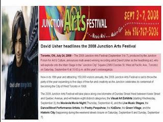 Press Release: David Usher Headlines 2008 the Junction Arts Festival