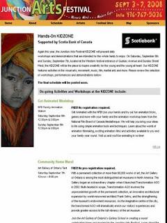 Screenshot: Toronto Junction Arts Festival 2008: KidZone, by artjunction.blogspot.com