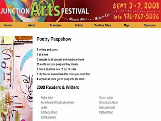 Screenshot: Toronto Junction Arts Festival 2008: Poetry Peepshow, by artjunction.blogspot.com