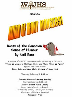 Junction Premiere: Nation of Irony Mongers: Roots of the Canadian Sense of Humour with Neil Ross
