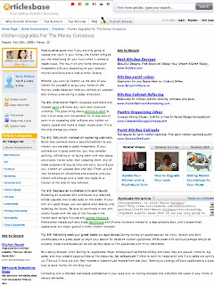 Screenshot: articlesbase.com: Kitchen Upgrades For The Money Conscious by Maria Polidoro