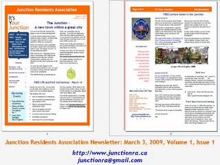The Junction Residents Association Newsletter: March 3, 2009, Volume 1, Issue 1