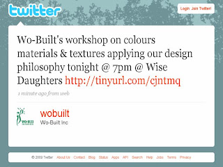 Screenshot: Twitter Reminder: Wo-Built's Home Design  Workshop Tonight